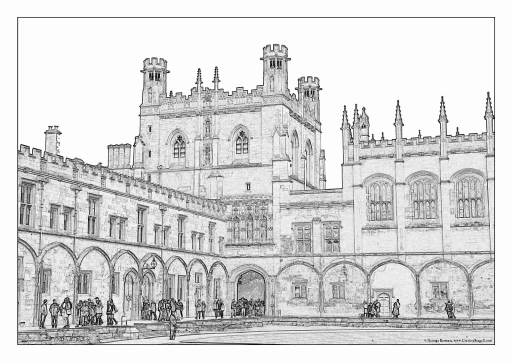 Oxford greyscale coloring page
